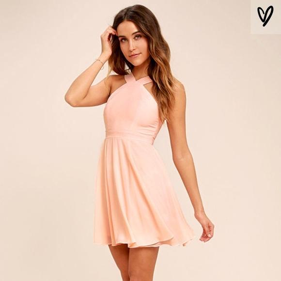 Lulu's Dresses & Skirts - Lulu's Blush/Peach Skater Cocktail Dress